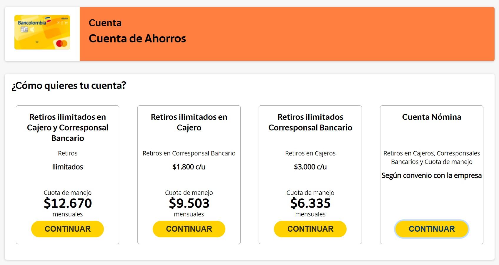 productos cuentas de ahorros y costos bancolombia