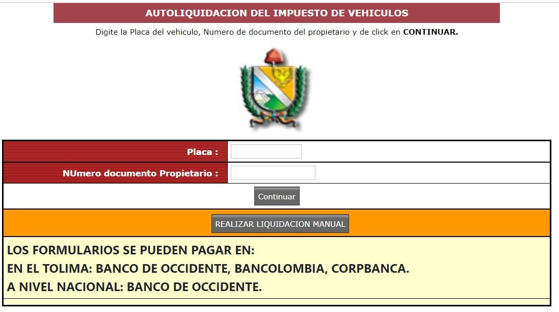 Impuestos vehicular Ibagué – Tolima